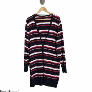 Torrid striped black button cardigan sweater